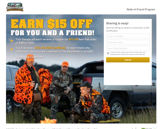Sportsmans Guide Refer a Friends Promotions Example