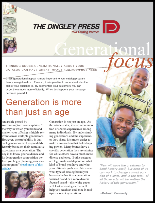 Generations in catalog marketing coverpage
