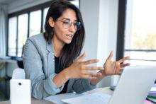 Woman planning virtual event