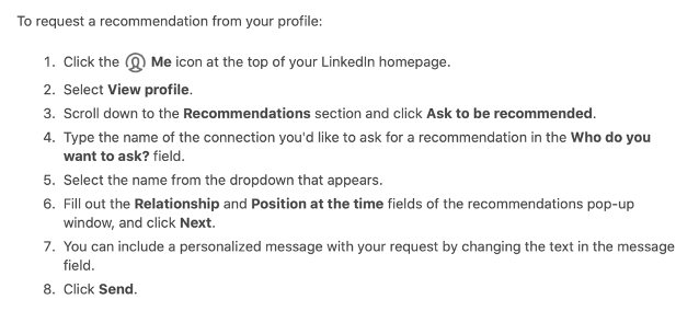 LinkedIn Recommendation Instructions