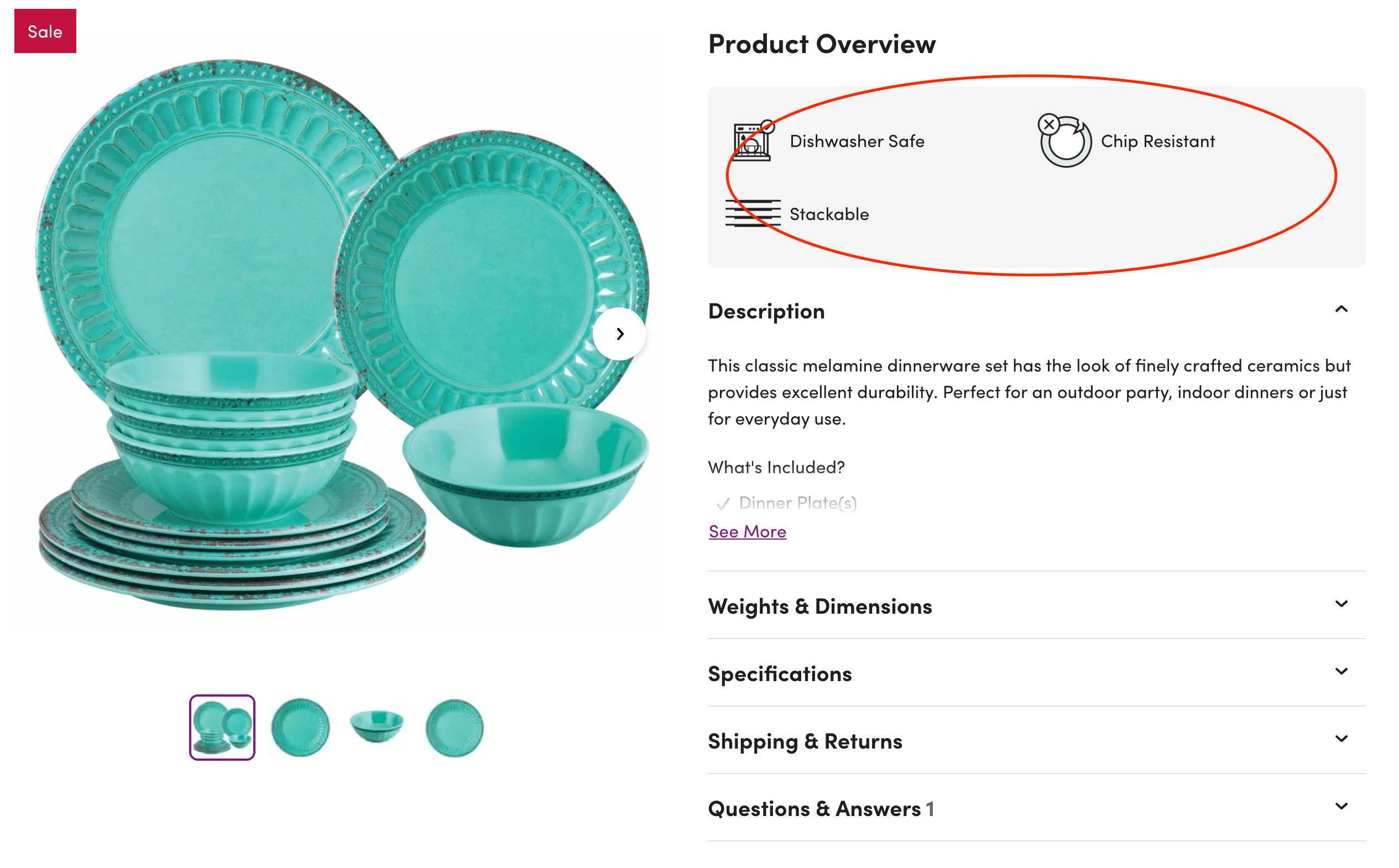 Wayfair product description