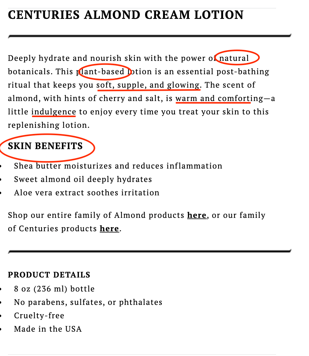 Well-written hand lotion product description