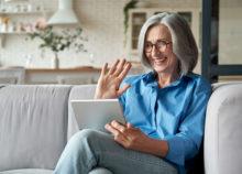 woman watching iPad during pandemic